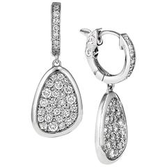Hand Made Micro Pave Diamond Gold Earrings