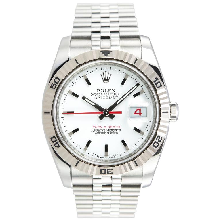 Rolex Stainless Steel DateJust Turn-O-Graph White Gold Bezel 1