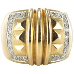 Large Diamond Gold Band Ring