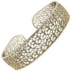 Buccellati Filidoro Sterling Silver Openwork Wide Cuff Bracelet
