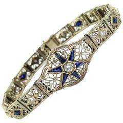 Art Deco 2.50 Carats of Natural Sapphires and 1.25 Carats of Diamonds Bracelet
