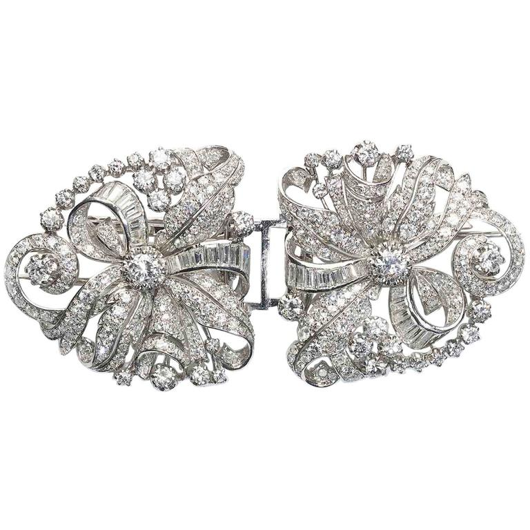 1950s Double Diamond Platinum Clip Brooch