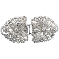 1950s Double Diamond Platinum Clip Brooch