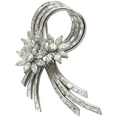 1950s Diamond Platinum Spray brooch