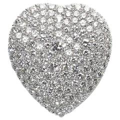 Diamond Platinum Heart Brooch
