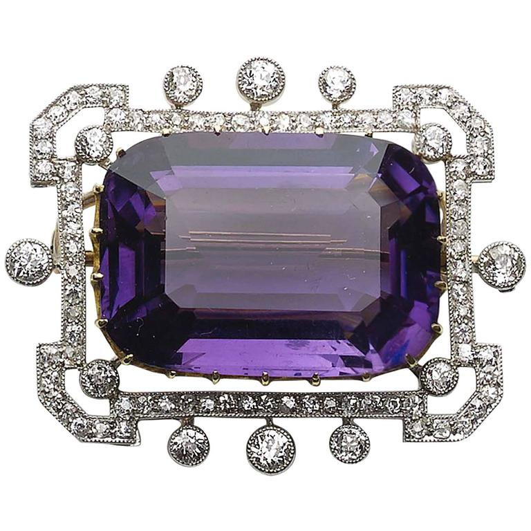 Edwardian Amethyst Diamond Gold Platinum Brooch  For Sale