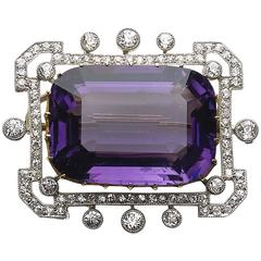 Edwardian Amethyst Diamond Gold Platinum Brooch