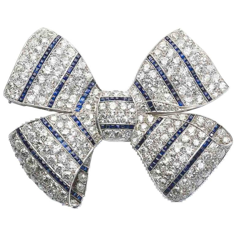 Art Deco Sapphire Diamond Platinum Bow Brooch