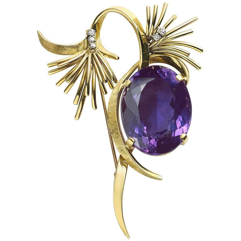 1960s Amethyst Gold Brooch
