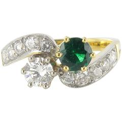 New French Emerald Diamond Gold Toi et Moi Engagement Ring
