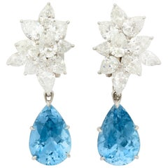 Finest Pear Shape Aquamarine Drop Diamond Platinum Earrings