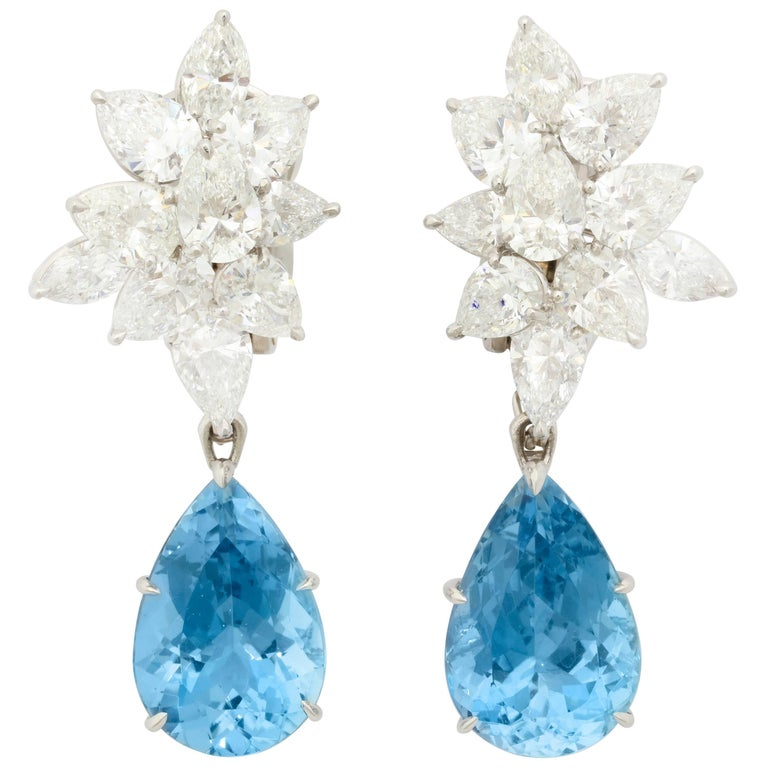Finest Pear Shape Aquamarine Drop Diamond Platinum Earrings