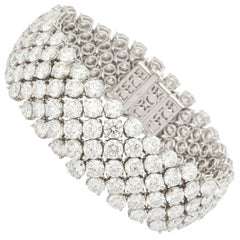 Finest Wide 60 Carats of Diamonds Gold Bracelet