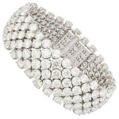 The Finest Wide 60 Carats of Diamonds Gold Bracelet