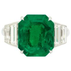 6.52 Carat Gem Quality Colombian Emerald Diamond Ring