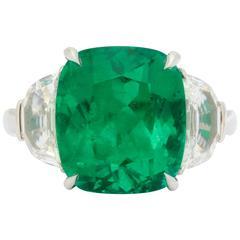 Very Fine Gem Quality Colombian Emerald Diamond Platinum Ring