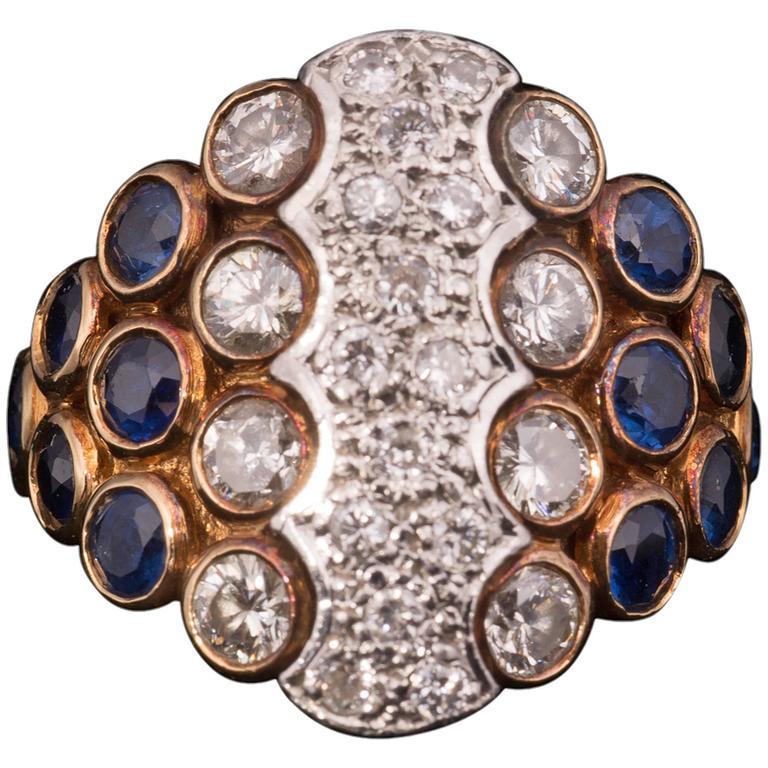 Striking Sapphire Diamond Gold Ring