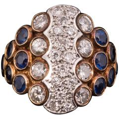 Striking Sapphire Diamond Gold Ring