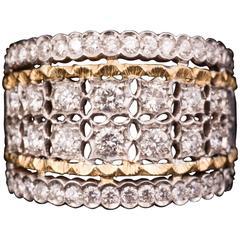 Fabulous Mario Buccellati Diamond Two Color Gold Ring
