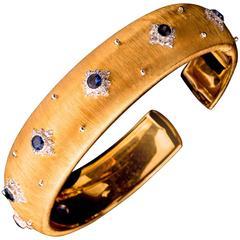 Buccellati Sapphire Diamond Gold Macri Cuff Bracelet