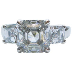 3.01 Carat GIA F VS1 Certified Asscher Diamond Platinum Three Stone Ring