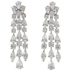 Three Row Diamond Gold Dangle Earrings
