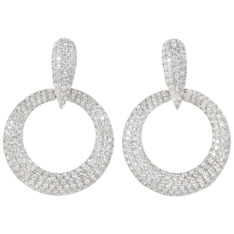 Diamond Gold Door Knocker Earrings