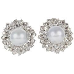 Elegant Pearl Diamond Gold Earrings