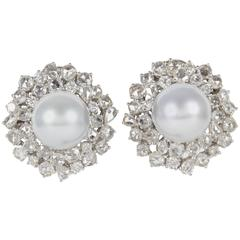 Elegant Pearl Diamond Gold Earrings