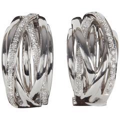 Criss Cross Diamond Gold  Huggie Hoop Earrings