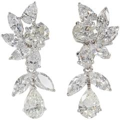 Elegant Diamond Platinum Cluster Earrings with Removable Drops