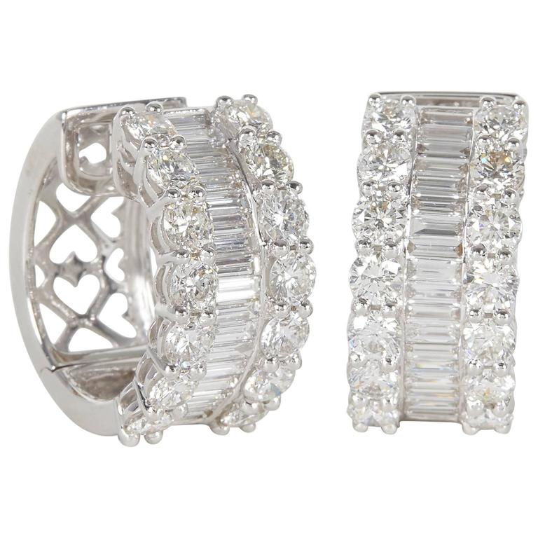 Round And Baguette Diamond Gold Huggie Hoop Earrings For