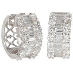 Round and Baguette Diamond Gold Huggie Hoop Earrings