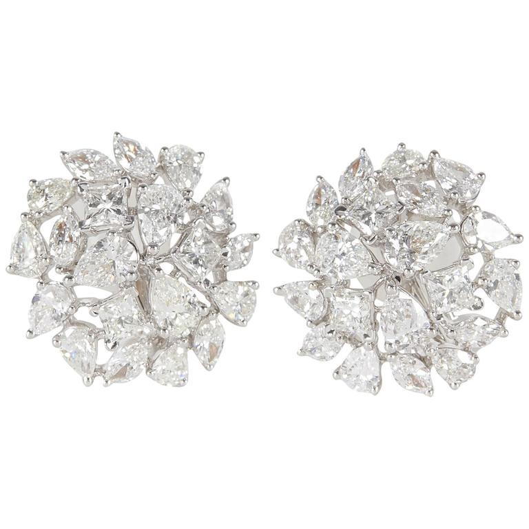 Multi Shape Diamond Gold Button Earrings 1