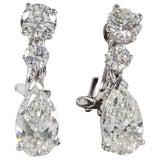 Pear Shape Diamond Dangle Drop Earrings GIA Certified