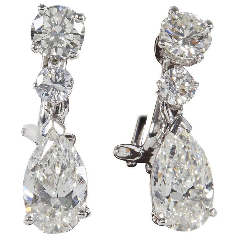 Pear Shape Diamond Dangle Drop Earrings GIA Certified