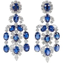 Important Sapphire Diamond Gold Chandelier Earrings