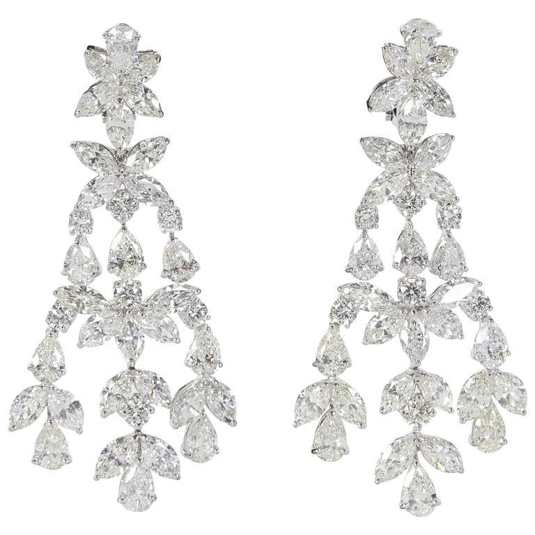Important 46 Carat Diamonds Platinum Chandelier Earrings
