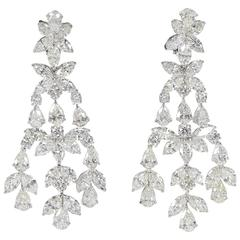 Important 46 Carat Diamonds Platinum Chandelier Earrings
