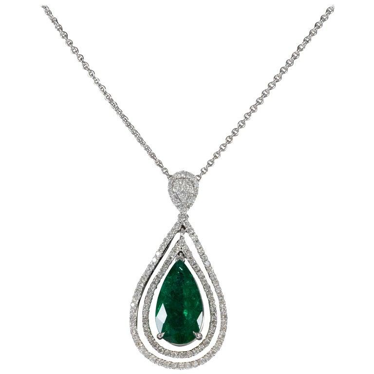 Green Emerald and Diamond Pendant For Sale