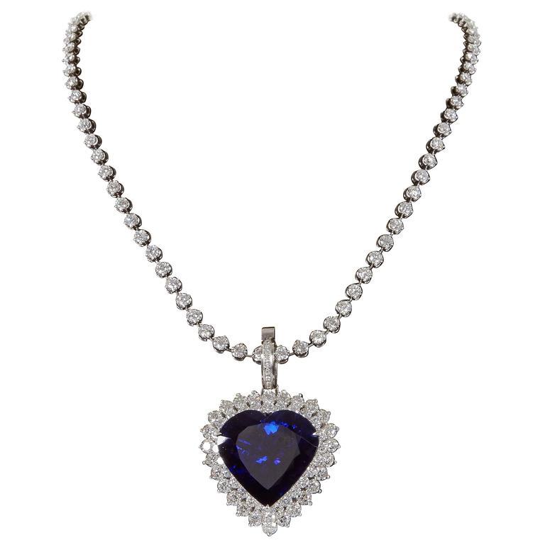 Rare 49.27 carat Heart Shape Tanzanite Diamond Pendant