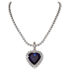 Rare 49.27 Carat Heart Shape Tanzanite Diamond Pendant