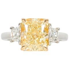 Fabulous GIA Cert 3.74 Carat Fancy Yellow Diamond Platinum Ring