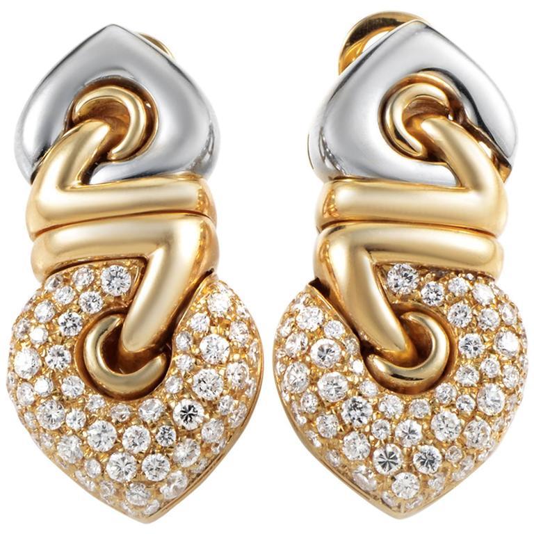 Bulgari Diamond Multi-Color Gold Clip-On Earrings 1
