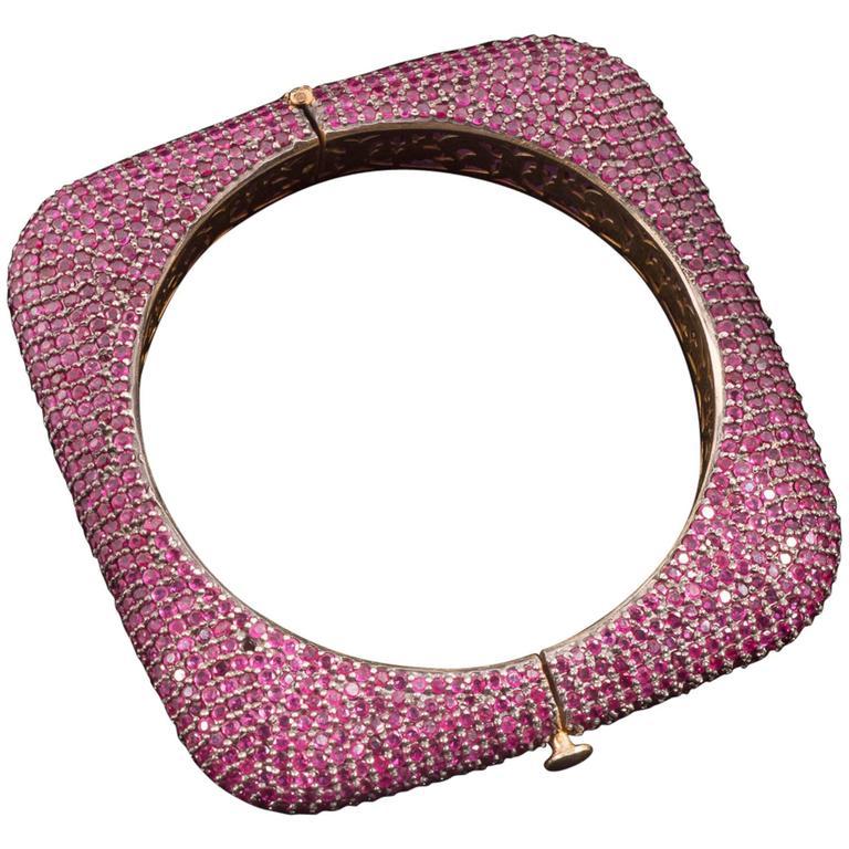 5 Carats Rubies Sterling Silver Bangle Bracelet