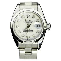 Rolex Ladies Stainless Steel Diamond Dial Oyster Perpetual DateJust Wristwatch