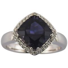Deep Blue Iolite Diamond Gold Ring