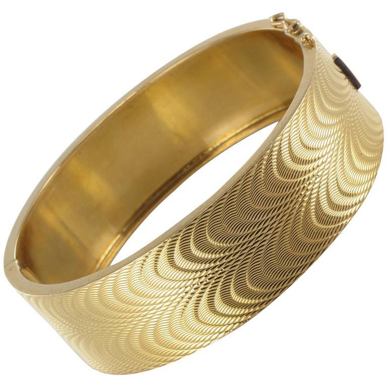 1950s French Moire Engraved Gold Bangle Bracelet