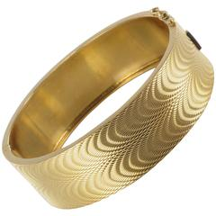 1950s French Moire Engraved Gold Bangle Bracelet