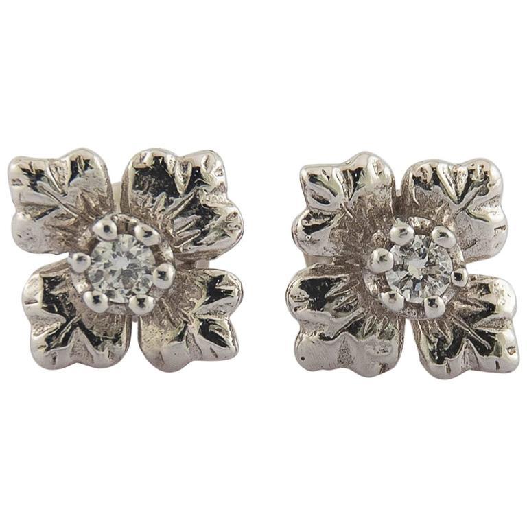 Classic Diamond Gold Flower Stud Earrings